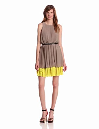 Jessica Simpson Women's Pleated Sleeveless Dress, Taupe, X-Small