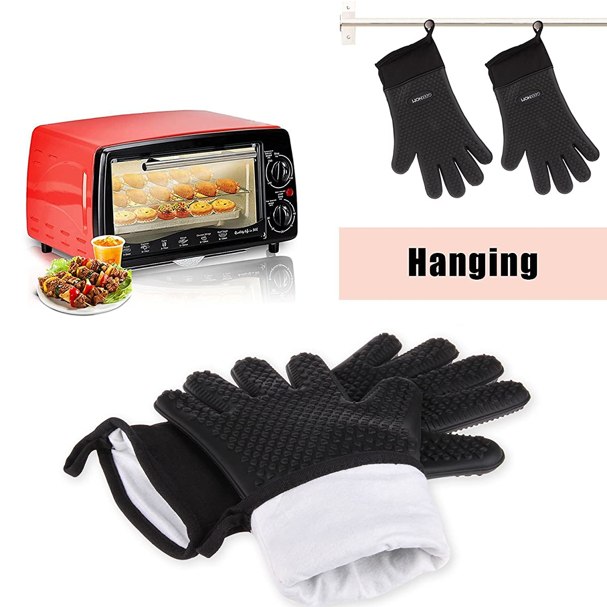 GEEKHOM Grilling Gloves, Heat Resistant Gloves BBQ Kitchen Silicone Oven Mitts, Long Waterproof Non-slip Potholder for Barbecue, Cooking, Baking (Black)