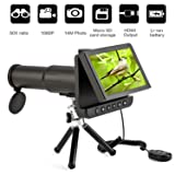 Koolertron 5.0 inch LCD Digital Monoculars Binoculars Camera 50x 1080P Video Photo Spotting Scope Recorder Portable Digital Camera Telescope for Watching Bird, Football Game + Free 8GB TF Card