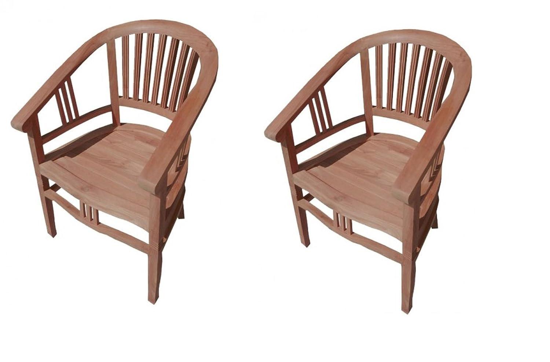SAM® 2er Spar-Set Gartenstuhl Sessel aus Teak Holz Moreno