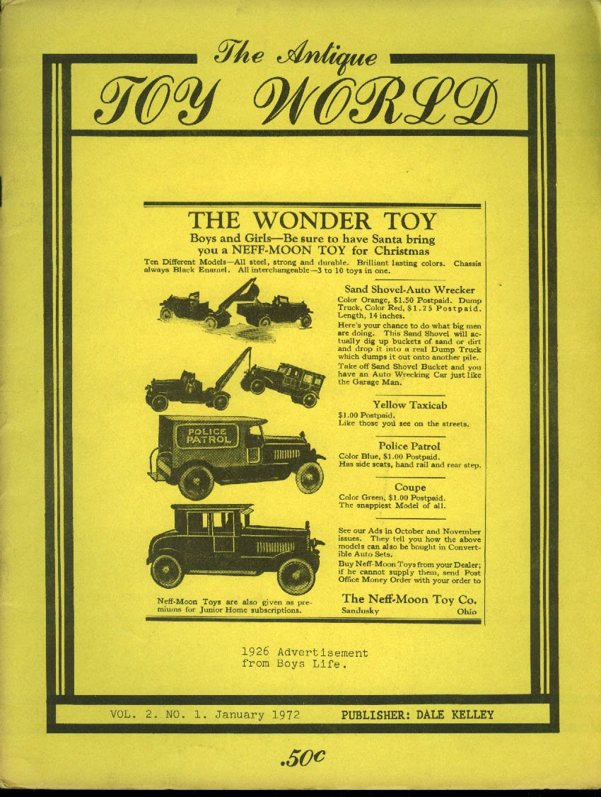 ANTIQUE TOY WORLD 1 1972: Graham car; crank pistols; Citroen; penny banks