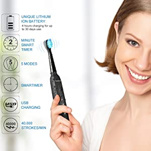 Electric Toothbrush, Sonic Rechargeable Eletronic Toothbrushes for Adults, Electronic Toothbrush with 2 Waterproof Replacement Brush Heads Power Clean as Dentist, Black (Color: Black)