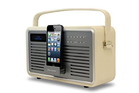 View Quest Retro DAB+ Radio with Lightning Connector for iPod/iPhone Dock - Cream