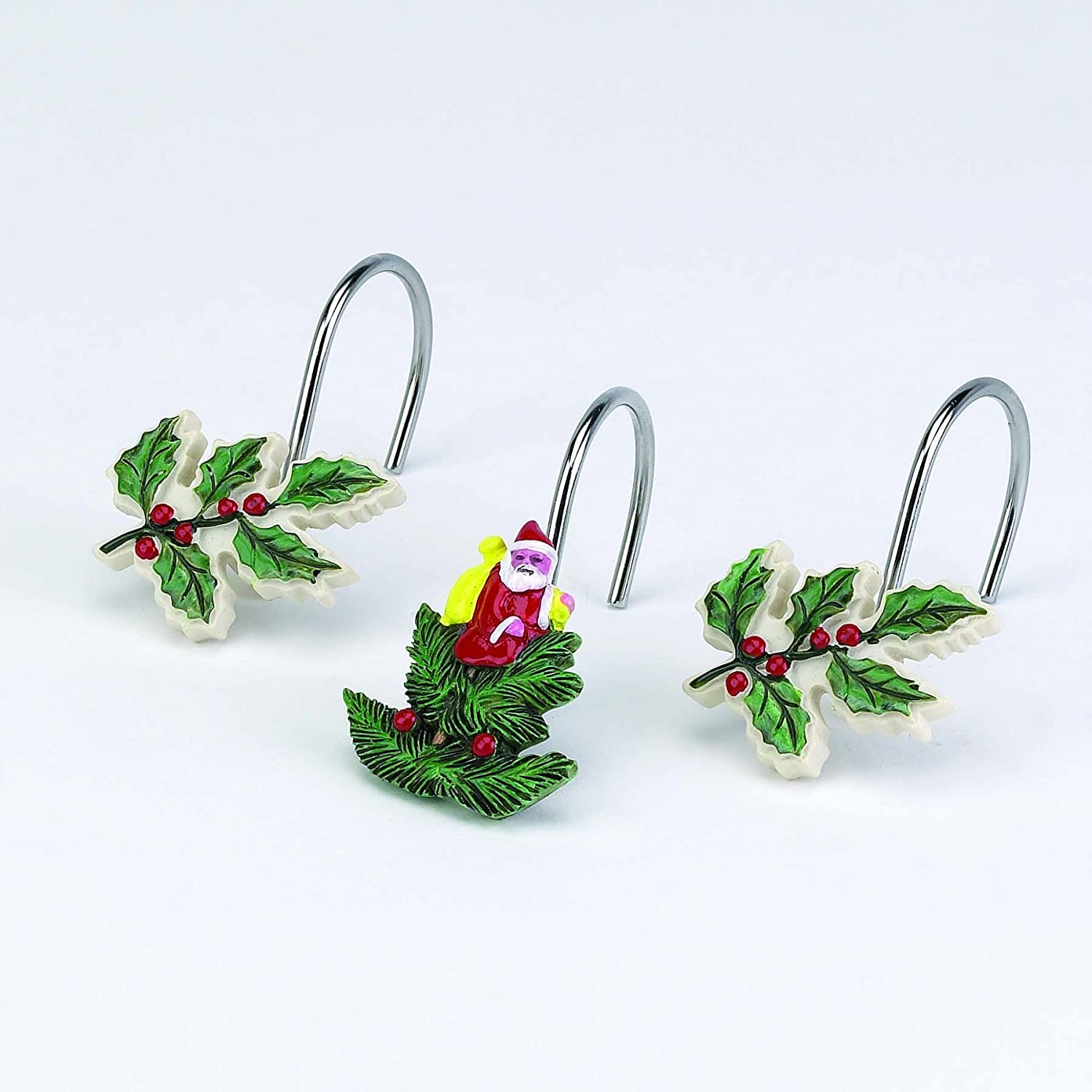 Spode Ceramic Ivory Santa & Mistletoe Shower Curtain Hooks