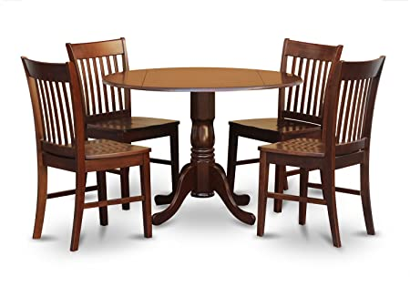 East West Furniture DLNO5-MAH-W 5-Piece Kitchen Table and 4 Chairs Set, Mahogany Finish