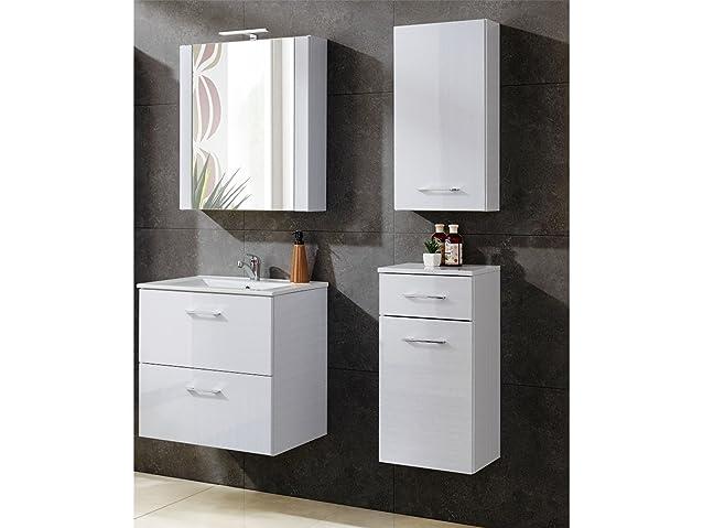 Set mobili da bagno DOMA TIC bianco con lavandino - bianco, Spiegel,Waschtisch & zwei kleine Schraenke 60 cm