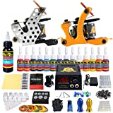 Solong Tattoo Complete Starter Beginner Tattoo Kit 2 Pro Machine Guns 14 Inks Power Supply Foot Pedal Needles Grips Tips TK212