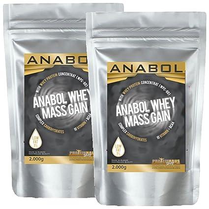 ANABOL WHEY MASS GAIN Vanille 4KG/ 4000g fur HARDGAINER Muskelaufbau Kohlenhydrat-Mix aus Whey-Protein (WPC-80) und CARBS mit extra Aminosäuren BCAA & Glutamin