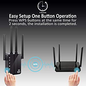 WiFi Range Extender, Anther 1200Mbps WiFi Repeater 2.4 & 5GHz Dual Band Signal Booster, 2 Ethernet Ports, with 4 External Antennas, 360 Degree Full Coverage WiFi Range Extender Repeater, Easy Set-Up