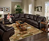 SIMMONS 50980 CHARLESTON LEATHER SECTIONAL THEATER CUPHOLDERS RECLINING BROWN WALNUT