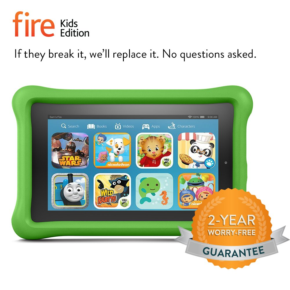"Fire Kids Edition Tablet, 7"" Display, Wi-Fi, 8 GB, Green Kid-Proof Case"