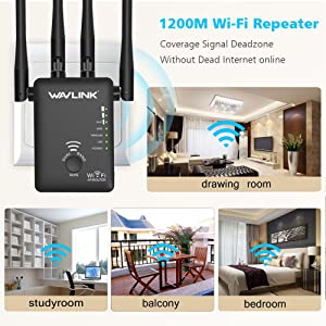 WiFi Extender,WAVLINK 1200M High Power WiFi Range Extender with Router Function,WiFi Booster 2.4G+5GHz WPS WiFi Repeater with 4 External Antennas,Wireless Router with 2 Ethernet Port (Color: Repeater)