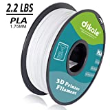 Dikale PLA 3D Printer Filament - 1KG(335m/1099ft) 1.75mm, Dimensional Accuracy +/- 0.02 mm, 1KG Spool 1.75 mm, White (Color: PLA2.2lbs-White(335m/1099ft))