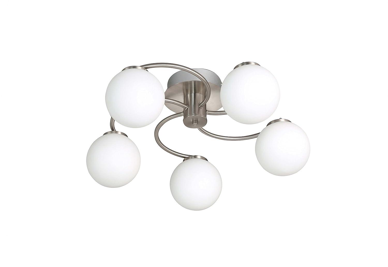 WOFI Deckenleuchte, 5-flammig, Serie Troja, 5 x LED, 4 W, Höhe 20.5 cm, Durchmesser 51 cm, Kelvin 3000, Lumen 370, nickel matt 9973.05.64.0000