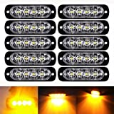LED Flash Warning Light, Northbear Car Truck Amber Emergency Light Front Rear Side Hazard Strobe Warning Lamp 12-24v (4LED, 10PCS)