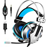 EKSA Gaming Headset for PS4, PC, Xbox One Controller, Noise Cancelling Over Ear Headphones with Mic, LED Light, Bass Surround, Soft Memory Earmuffs for Laptop Mac Nintendo Switch Games (Color: Blue, Tamaño: 50mm)