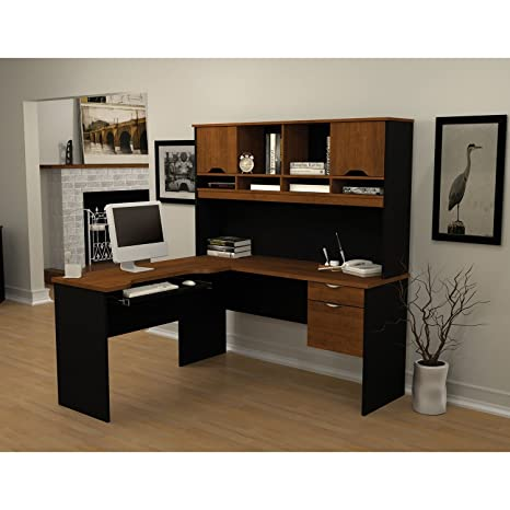 Innova L-Shaped Computer Work Station Finish: Tuscany Brown & Black