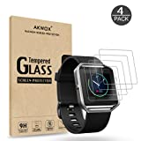 (Pack of 4) Tempered Glass Screen Protector for Fitbit Blaze Smart Watch , Akwox [0.3mm 2.5D High Definition 9H] Premium Clear Screen Protective Film for Fitbit Blaze