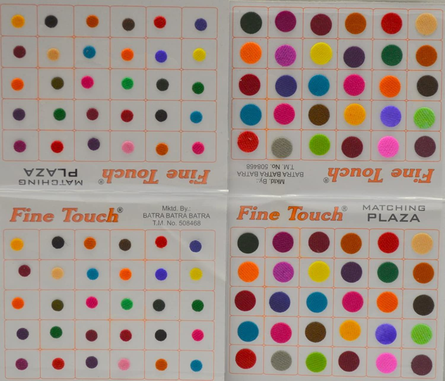 Multi-color Velvet Dot Bindi Tattoo Assorted Colors 120 Stickers Adhesive Body Jewelry By Golden India P3