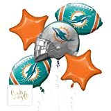 Andaz Press Balloon Bouquet Party Kit with Gold Cards & Gifts Sign, Dolphins Football Themed Foil Mylar Balloon Decorations, 1-Set (Color: Sports Dolphins)