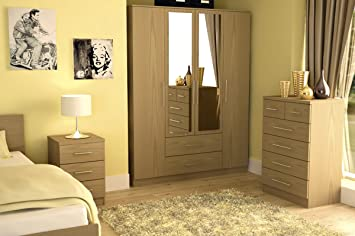 Haten Oak 3 Piece Trio Bedroom Set