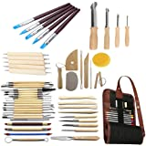 Gimiton 52 PCS Wooden Pottery Sculpting Clay Cleaning Tool Set Pottery Carving Tool Set with Rubber Tip Paint Brushes Clay Hole Cutters with 36 Holes Canvas Bag Case Pouch (52pcs/carving tool) (Tamaño: 52pcs/carving tool)
