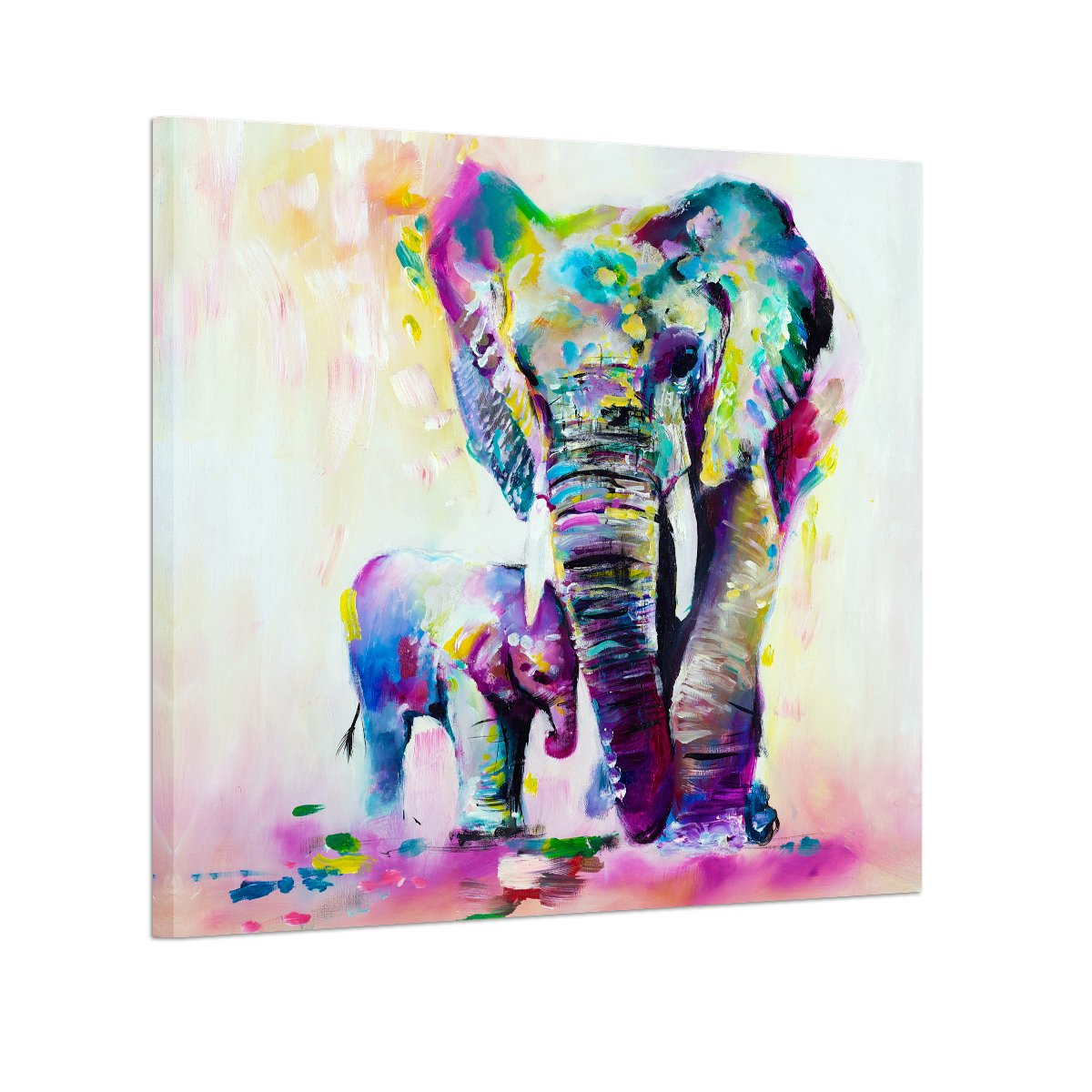 RAIN QUEEN Modern Abstract Colorful Cute Elephant Mother and Son Poster Print Painting Wall Art 1pc