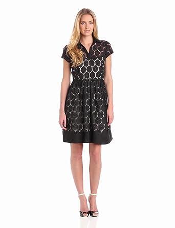 Julian Taylor Women's Eyelet Fit And Flare Dress, Black, 6 Missy