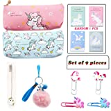Unicorn Pencil Bag, Cute Unicorn Pencil Case, Pencil Bag Set for Students or Office Workers, Travel or Stationary Case Makeup Cosmetic Bag, School Sup