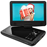 ieGeek 12.5 inch Portable DVD Player with 360° Swivel Screen, 2500mhA Rechargeable Battery, Support SD Card & USB Direct Play, Loop Playback, Resume Function, AV-in/Out, Region Free, Black (Color: black)