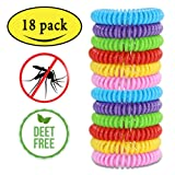 Mosquito Repellent Bracelets,Natural for Kids & Adults(18 Pack)Waterproof Elastic Coil Pest Control Bug Repellent Wristbands up to 300 Hrs Protection,Deet-free and Bugs Free (Color: Multi Color)