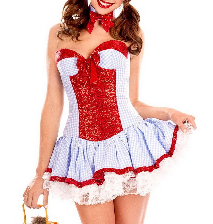 Bigood Lace Spritz Bandeau Stil Dienstmädchen Kostüm Damen Maschen Cosplay Kostüm Rot jetzt bestellen