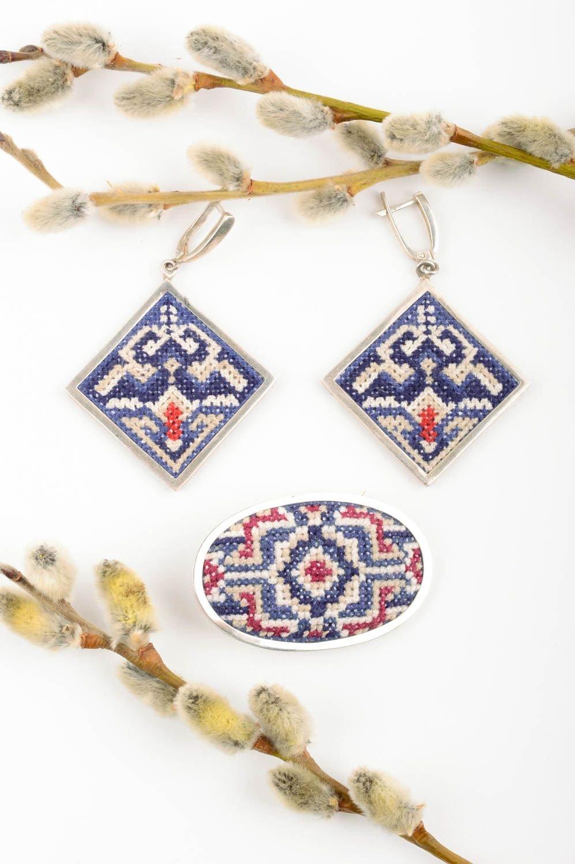 Handmade Damen Schmuck Set Accessoires für Frauen Ethno Ohrringe und Brosche als Geschenk