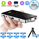 Portable Projector, H96-P Touch Key Mini Pocket Projector Android 6.0 Smart Projector with Amlogic CPU, 2GB/16GB, Built-in Batteries and LiveTV.Direct Services (Color: H96-P)