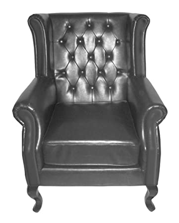 Premier Housewares Chesterfield Wing Chair Leather - 107 x 75 x 83 cm, Black