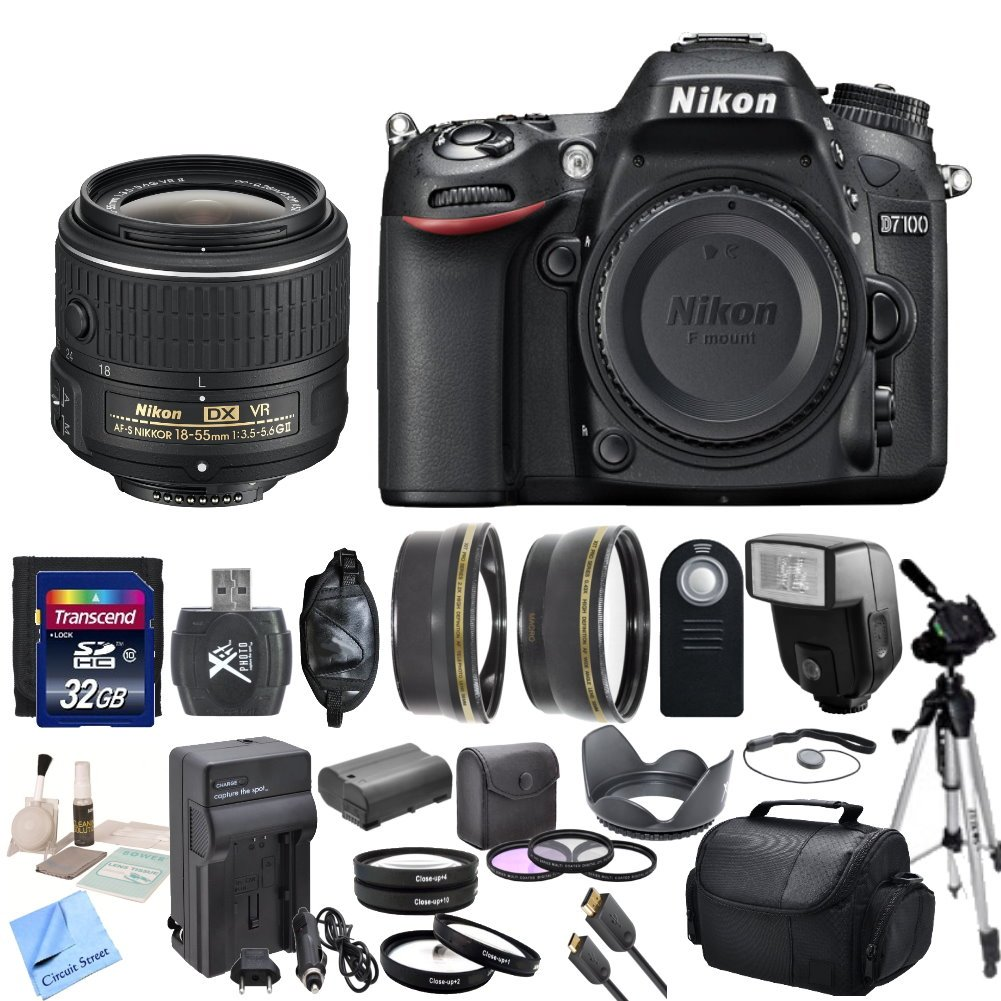 Nikon D7100 24.1 MP DX-Format CMOS Digital SLR With Nikon 18-55mm f/3.5-5.6G VR II AF-S DX NIKKOR Zoom Lens & CS Premium Package: Includes High Speed 32GB SDHC Memory Card ..