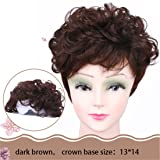 Susanki 6 inches Short Wavy Curl Human Hair Crown Toppers Clip in Toupee Hairpieces for Women (Dark Brown) (Color: Dark Brown, Tamaño: 6