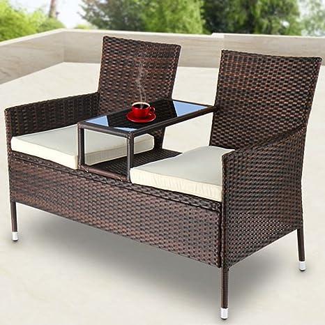 Jardín LD Polirratán Sofá Banco de jardín con mesa banco Tete-a-tete–Banco muebles de jardín