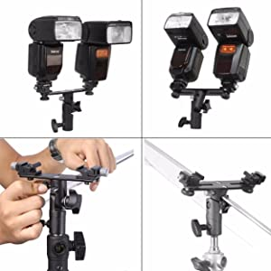 EXMAX E2 Adjustable Double Flash Bracket Dual Hot Shoe Speedlight Stand Umbrella Holder Light Stand Bracket Mount 1/4 to 3/8'' for Studio Video DSLR Camera Canon Nikon Yongnuo (Color: E2)