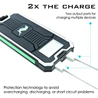 Z Bank 12,000 MAH Solar Charger with Built-In LED Light