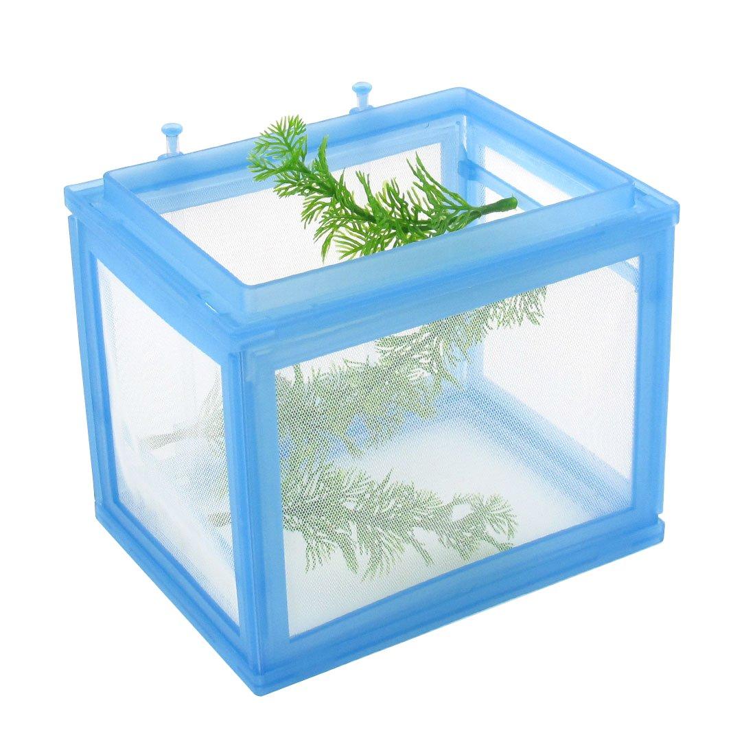 Uxcell Plastic Aqua Life Aquarium Fish Net Breeder Betta Baby Saver, Blue