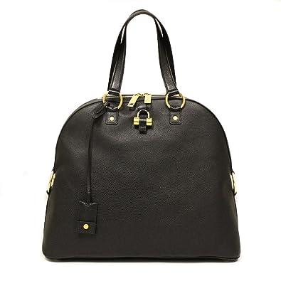 Yves Saint Laurent YSL Handbag Black Leather Oversized Muse Top ...