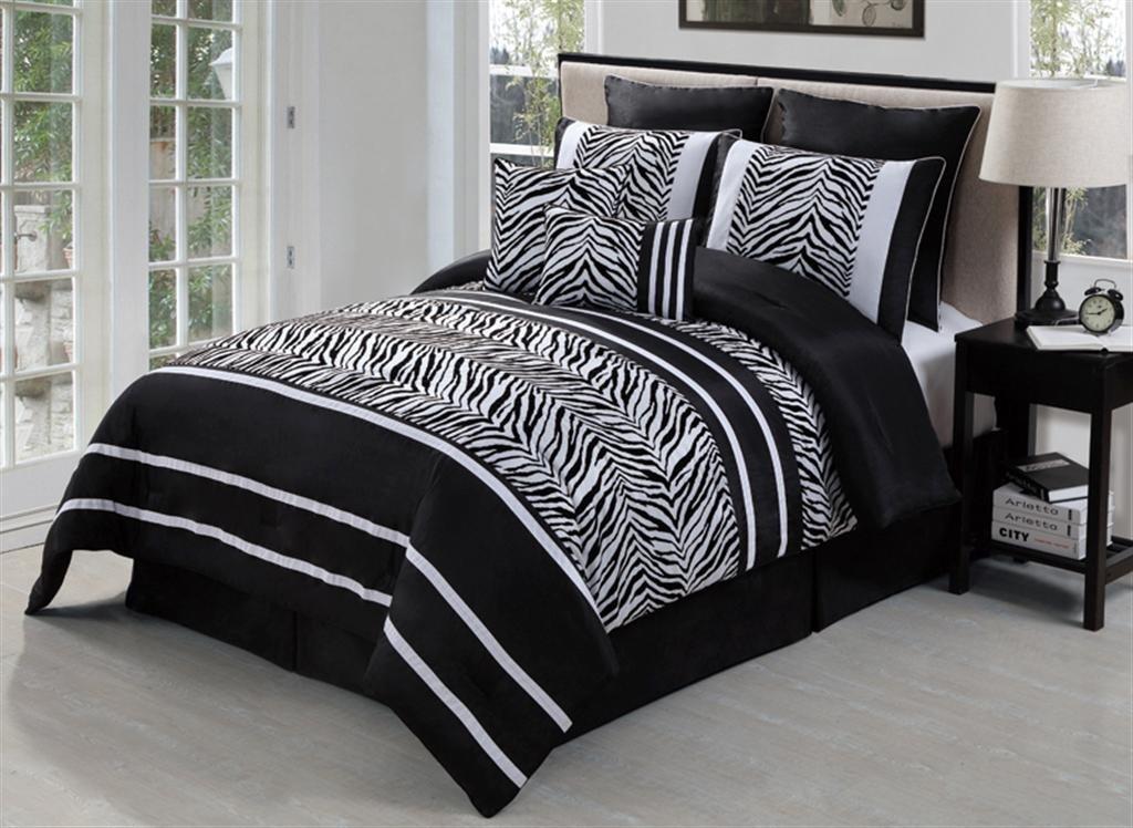 laken zebra black white 8 piece comforter bed in a bag set