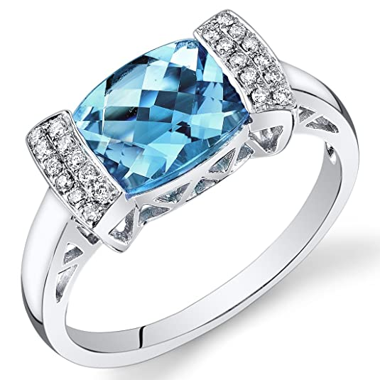 Revoni 14ct White Gold Cushion Swiss Blue Topaz Diamond Ring (2.36 cttw)