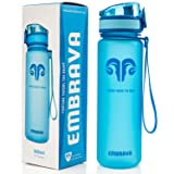 Embrava Best Sports Water Bottle - 18oz Small - Eco Friendly & BPA-Free Plastic - Fast Water Flow, Flip Top Lid, Opens with 1-Click (Blue) (Color: Blue)