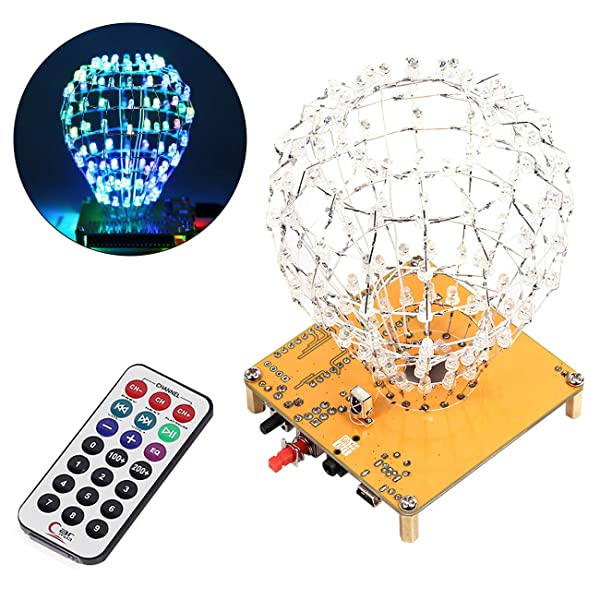 WHDTS LED Cubic Crystal Ball DIY Kits DIY Electronics Soldering Kits Funny DIY STC12C5A60S2 for Soldering Practice Learning (Color: Crystal Ball)