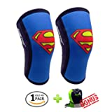 Knee Sleeves (1 Pair) 7 mm Neoprene Best Knee Supports Pain Compression Brace Cap for Squats, Crossfit WODS Weightlifting Powerlifting Strong Knee Pads for Men Women by RUNTOP (M, Super Man) (Color: Super Man, Tamaño: M)