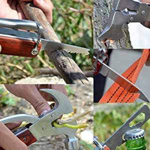 Portable Multitool Hammer Emergency Escape Hammer Stainless Steel Multipurpose Tool Multifunctional Knife Axe with Hammer Plier (Axe hammer)