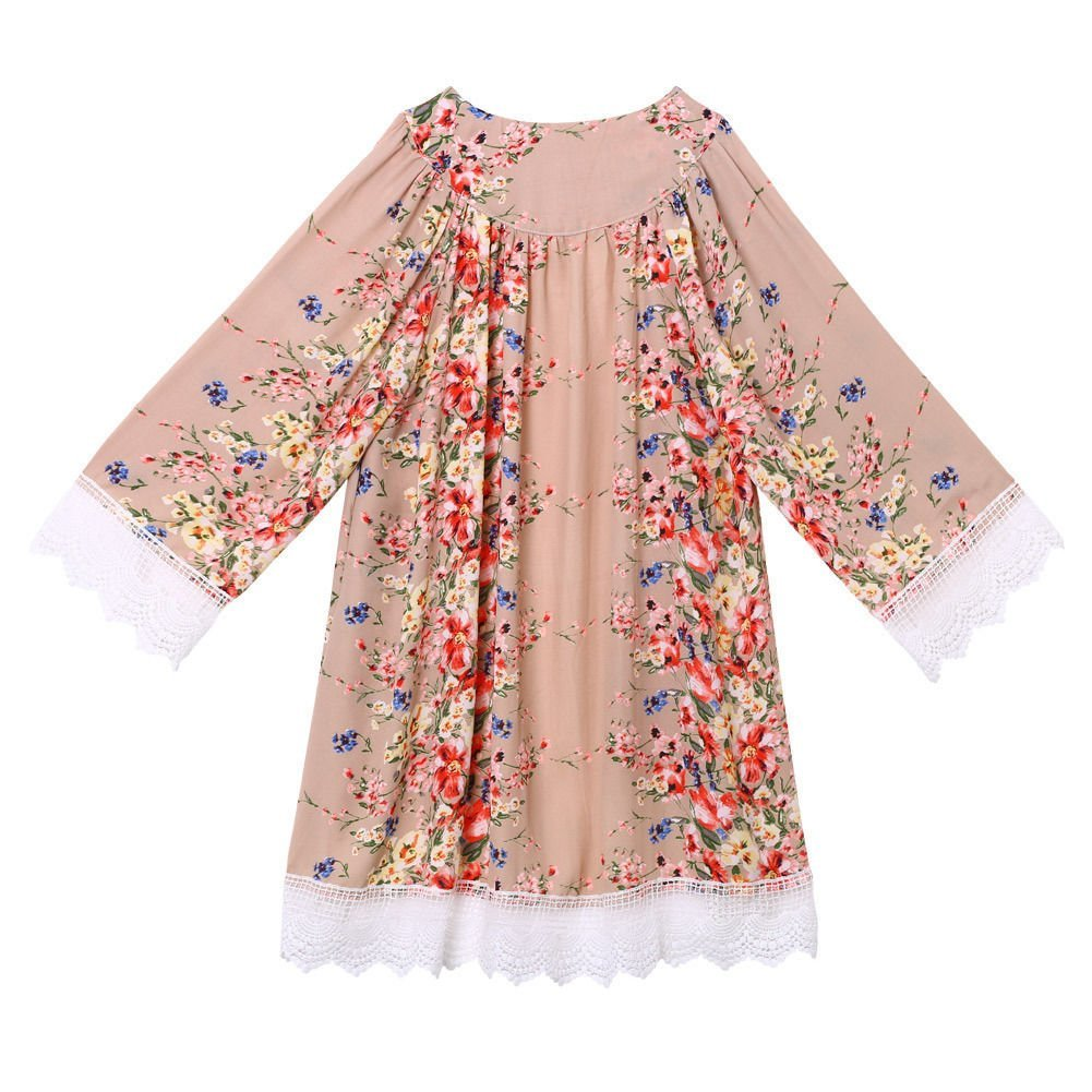 Froomer Women Vintage Floral Boho Shawl Kimono Cardigan Loose Chiffon Blouse 1