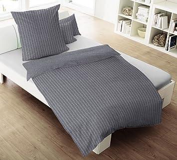 Dormisette 2 Tlg Melange Flanell Wende Bettwäsche 135x200cm Grau
